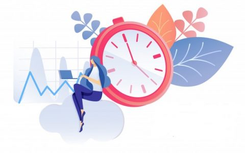 a women working with and keeping track on time